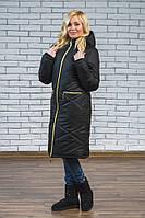 Женское зимнее длинное пальто черное, фото 1