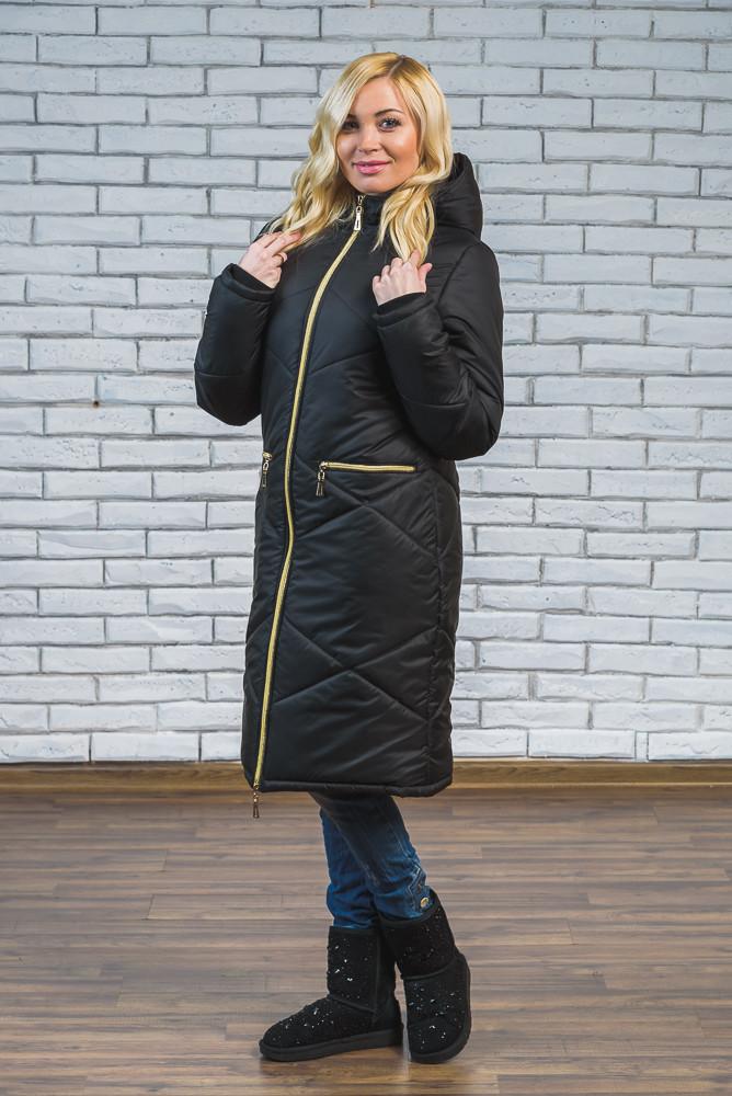 Женское зимнее длинное пальто черное