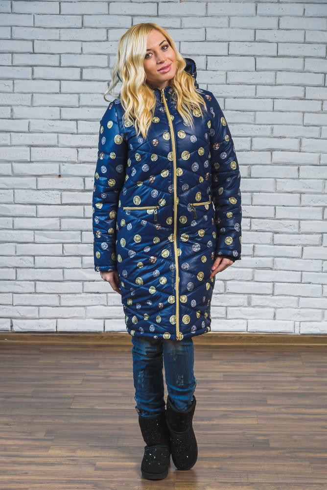 Женское зимнее длинное пальто Монеты