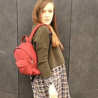Бордово-красный матовый рюкзак из экокожи, фото 1