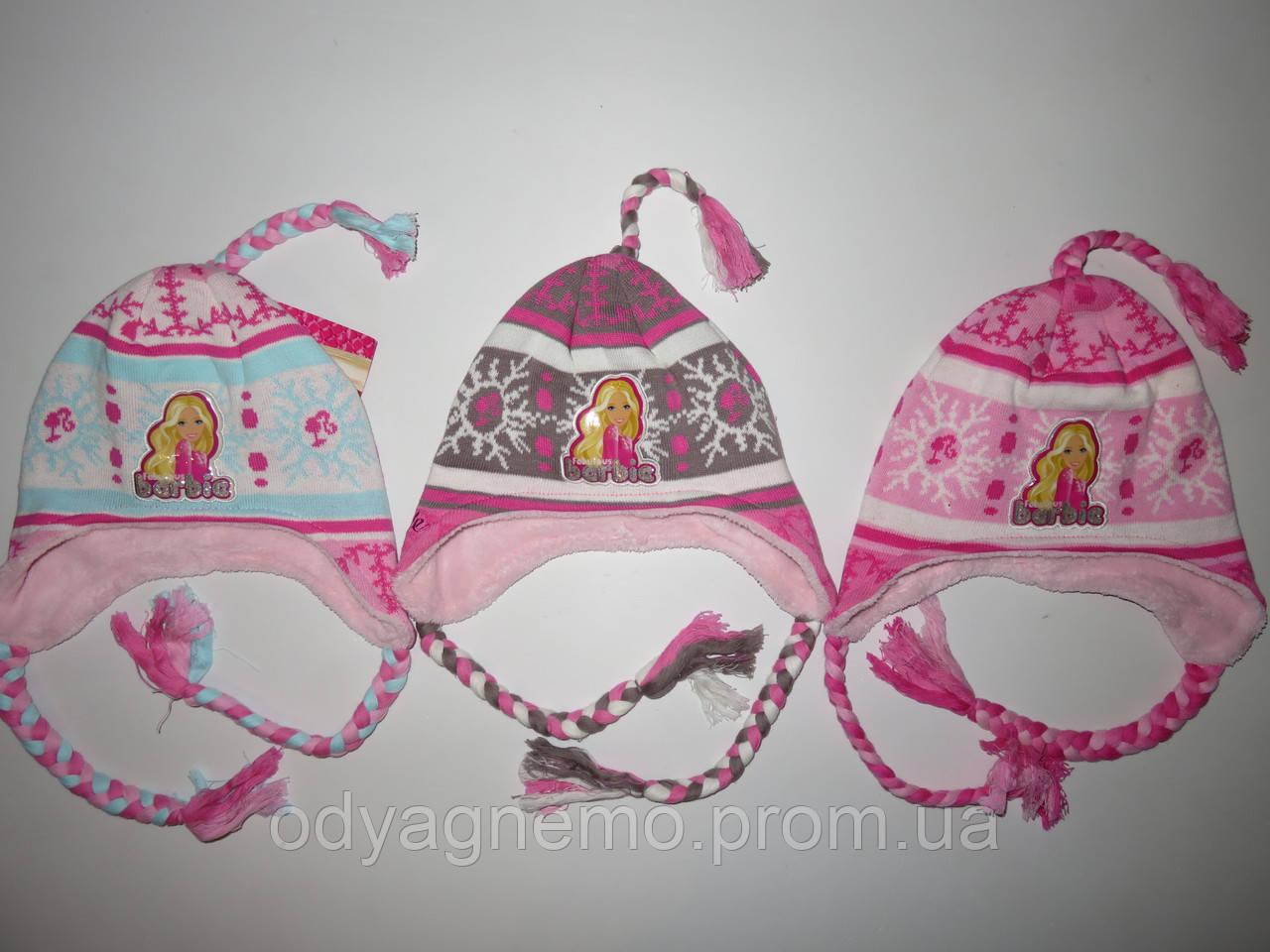 Шапка для девочек с махровой подкладкой  Barbie оптом 52-54см.
