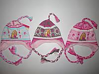 Шапка для девочек с махровой подкладкой  Barbie оптом 52-54см., фото 1
