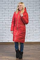 Женское зимнее длинное пальто красное
