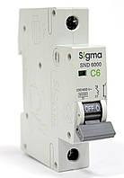 Автоматический выключатель автомат 6 А ампер однофазный однополюсный С C характеристика цена купить Европа, фото 1