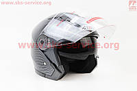 Шлем открытый  с очками  ATAKI глянец карбон  размер  XL 61- 62 см