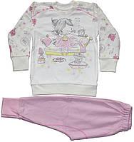 Пижама для девочки, молочная с розово-сиреневыми брючками, с девочкой и котиком, рост 92 см, 98 см, ТМ Ля-ля