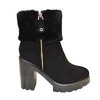Ботинки женские зимние черный замш на каблуке