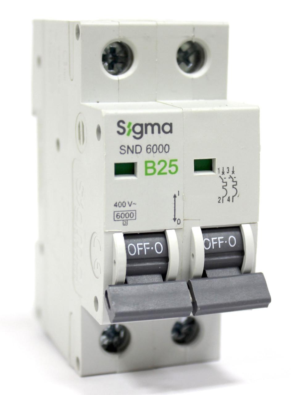 Автоматический выключатель  25 А  двухфазный двухполюсный  В характеристика