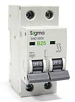 Автоматический выключатель автомат 25 А ампер двухфазный двухполюсный B В характеристика цена купить Европа