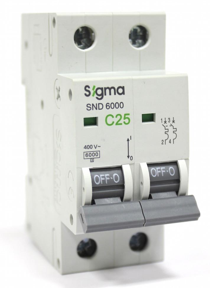 Автоматический выключатель автомат 25 А ампер двухфазный двухполюсный С C характеристика цена купить Европа