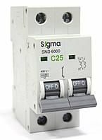 Автоматический выключатель автомат 25 А ампер двухфазный двухполюсный С C характеристика цена купить Европа, фото 1