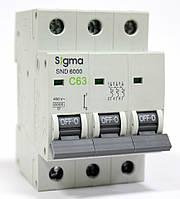 Автоматический выключатель автомат 63 А ампера трехфазный трехполюсный С C характеристика цена купить, фото 1