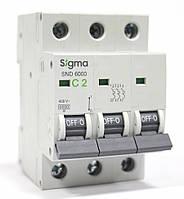 Автоматический выключатель автомат 2 А ампера трехфазный трехполюсный С C характеристика цена купить, фото 1