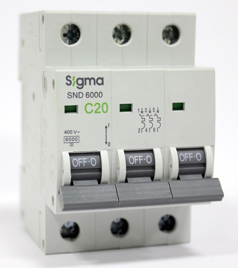 Автоматический выключатель автомат 20 А ампер трехфазный трехполюсный С C характеристика цена купить