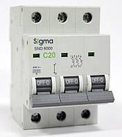 Автоматический выключатель автомат 20 А ампер трехфазный трехполюсный С C характеристика цена купить, фото 1