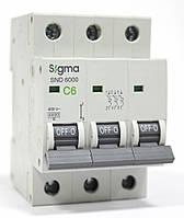 Автоматический выключатель автома  6 А ампер трехфазный трехполюсный С C характеристика цена купить