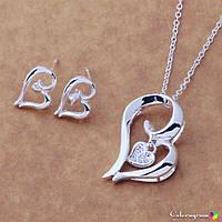 Женский набор украшений покрытие серебро 925 пробы сердца (серьги,кулон,цепочка)