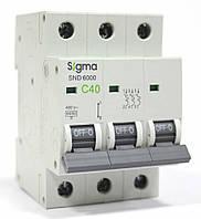 Автоматичний вимикач автомат 40 А ампер трьохфазний трьохполюсний С C характеристика ціна купити, фото 1