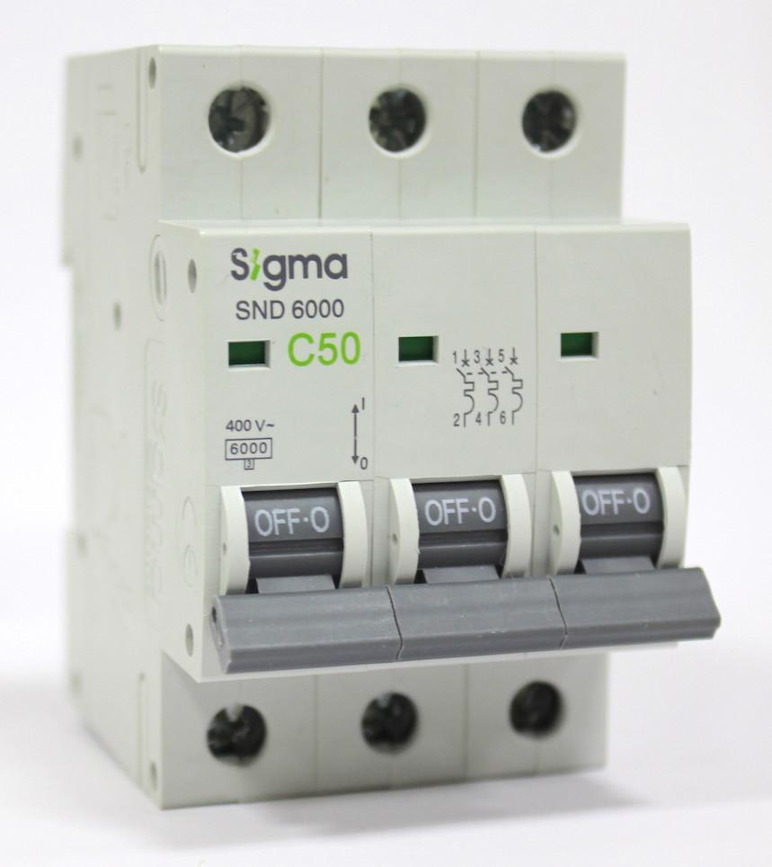 Автоматический выключатель автомат 50 А ампер трехфазный трехполюсный С C характеристика цена купить