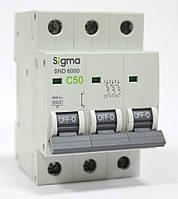 Автоматический выключатель автомат 50 А ампер трехфазный трехполюсный С C характеристика цена купить, фото 1