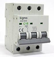 Автоматический выключатель автомат 16 А ампер трехфазный трехполюсный С C характеристика цена купить, фото 1