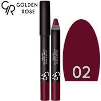 Golden Rose - Губная помада-карандаш Matte Lipstick Crayon Тон 02 plum, слива, фото 2