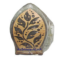 Солевой светильник лист в дереве