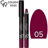 Golden Rose - Губная помада-карандаш Matte Lipstick Crayon Тон 05 maroon, розовая слива, фото 2