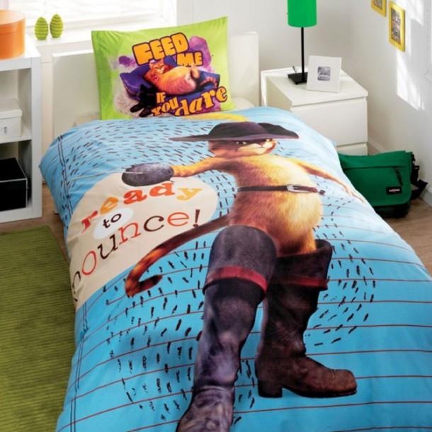 Комплект детского постельного белья  TAC Shrek Puss In Boots