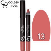 Golden Rose - Губная помада-карандаш Matte Lipstick Crayon Тон 13 pink natural, карамель, фото 2