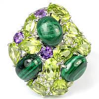 Серебряное кольцо с малахитом, перидотами и аметистами