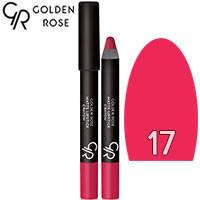Golden Rose - Губная помада-карандаш Matte Lipstick Crayon Тон 17 bright pink, розовая, фото 2