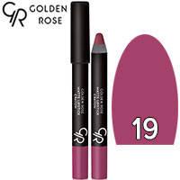 Golden Rose - Губная помада-карандаш Matte Lipstick Crayon Тон 19 dusty plum, сиреневая слива, фото 2