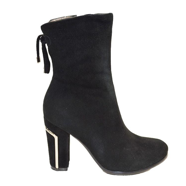 Ботинки женские зимние из натуральной замши и натурального меха на каблуке черные 40