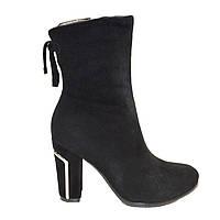 Ботинки женские зимние из натуральной замши и натурального меха на каблуке черные 40, фото 1
