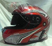 Мотошлем FGN Helmet трансформер с очками, flip-up,  красный с рисунком