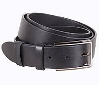 Надежный мужской кожаный ремень джинсовый 3,5 см черный