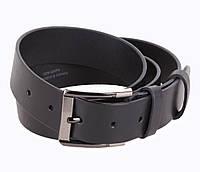 Стильный мужской кожаный ремень джинсовый 3,5 см черный