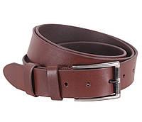 Стильный мужской кожаный ремень джинсовый 3,5 см коричневый