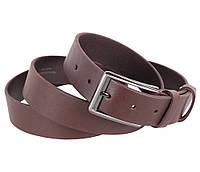 Прочный мужской кожаный ремень джинсовый 3,5 см коричневый