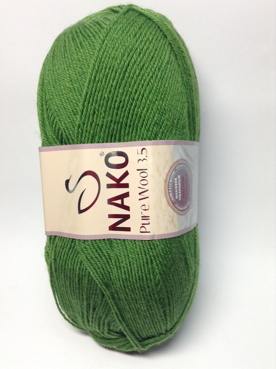 Пряжа nako pure wool 3.5 - цвет зеленый