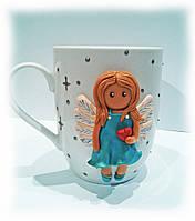 Чашка сувенир с лепкой Нежный ангел Подарок девочке маме подруге на 8 марта