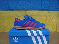 Adidas Hamburg мужские кроссовки (гамбург адидас мужские) синие с красной полоской