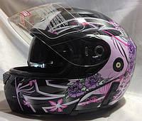 Мотошлем женский FGN трансформер с очками, flip-up,  черный с цветами