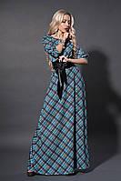 Платье женское голубая шотландка