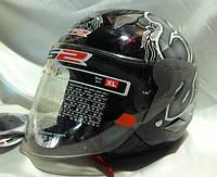 Мотошлем LS2 открытый, цвет черный с рисунком. Мотошлем глянцевый