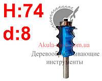 H74 d8 Фреза Karnasch кромочная фигурная с нижним подшипником