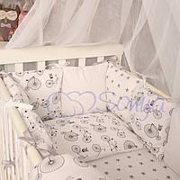 Комплект в кроватку (бортики - подушки) Baby Design велосипеды (натуральный наполнитель - ekotton)
