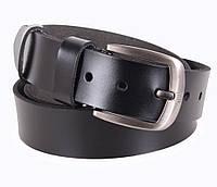 Повседневный мужской кожаный ремень 4 см под джинсы черного цвета