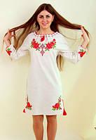 Вышитое женское платье на льне, фото 1